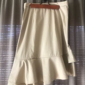 Office friendly midi skirt with ruffles.